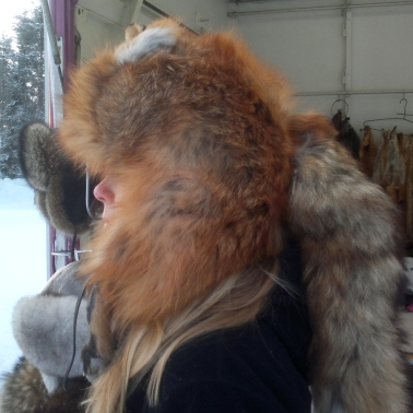 N modeling a fox hat. Would be super warm!