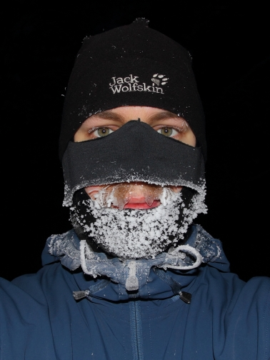 The Finnsvala Extreme balaclava with home made nose protector layered with micro-fleece hat after a skiing trip in below -30C.