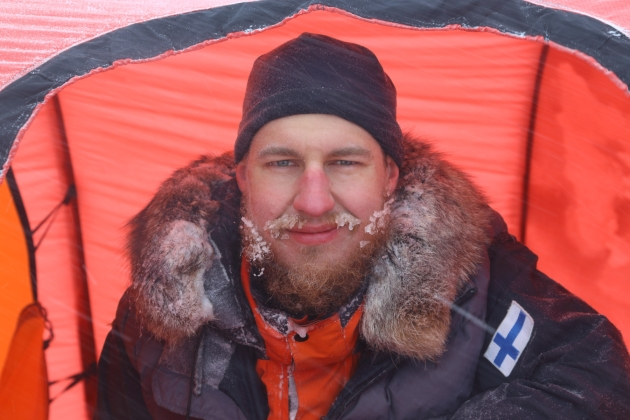 Yours truly enjoying life at the Greenland icecap. Photo by Matias Utriainen.