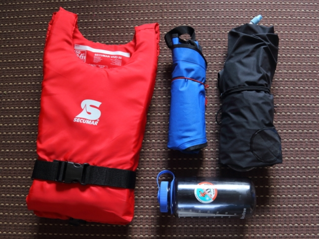 Supai Flatwater Canyon II on the right, Anfibio Buoy Boy inflatable vest in the middle, simple foam PFD on the left and 1L Nalgene for scale.